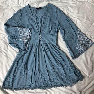 Boho Light Blue Dress with Bell Sleeves